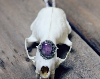 Real Mink skull necklace with amethyst crushed pyrite on 925 sterling silver chain