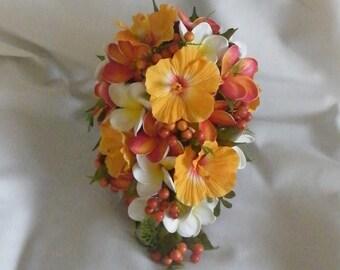 Hibiscus Bouquet Plumeria Frangipani Artificial Bouquet Destination Wedding Flowers