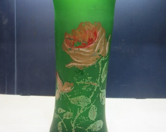 Antique Frosted Green Vase With Roses And Leaves