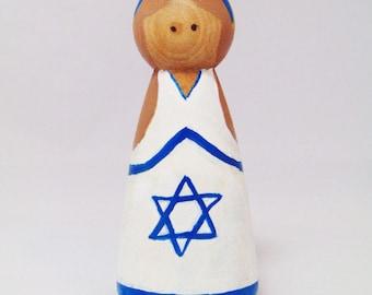 We Stand with Israel, Israel wood peg, peg people , peg doll, Flag peg people, flag peg doll