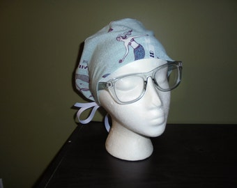 Mermaid Nautical Surgical Scrub Hat