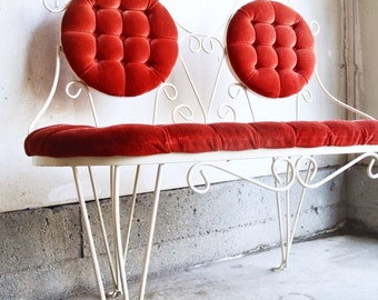 Stunning Vintage Ice Cream Parlor Bench - Red Velvet Ice Cream Parlor Chair - Vintage Wrought Iron Bench - Vintage Cafe Bench - Tufted Bench