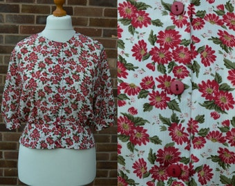 SALE 1980s Red Floral Peplum Top Size M