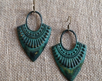turquoise patina brass dangle earring - empress