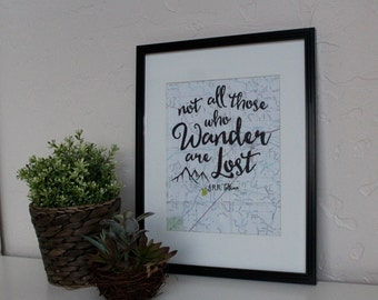 Not all those who wander are lost, JRR Tolkien quote on up-cycled map