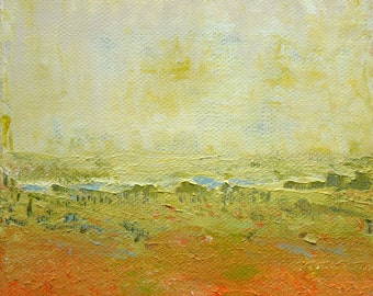 Landscape original acrylic painting with palette knife 5.9 inch x 5.9 inch