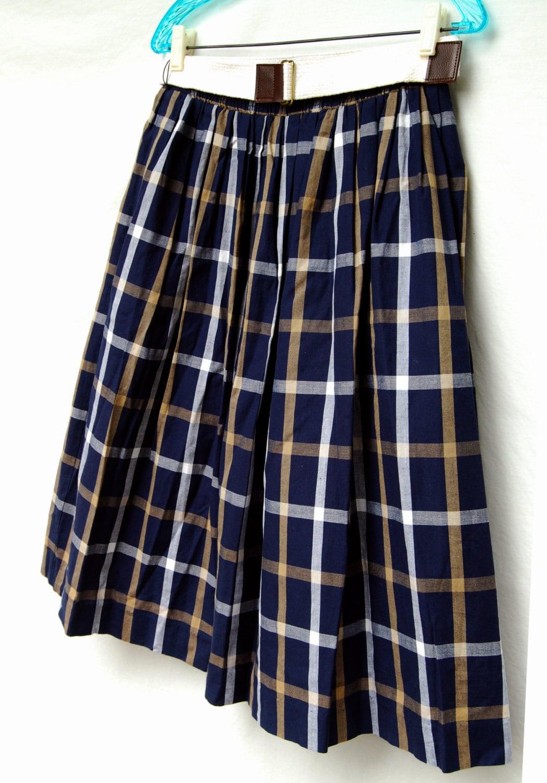 vintage navy blue tartan plaid skirt belt david