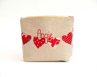 Personalised Cosmetic Bag - Heart Bunting, Valentine