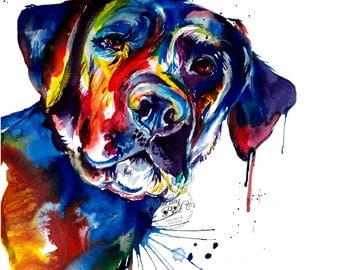 Colorful Black Lab Labrador Retriever Art Print - Print of my Original Watercolor Painting