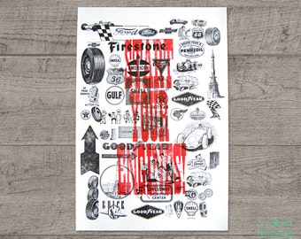 Indy Racing and Automotive Letterpress Art Print JJD_LP_SEP