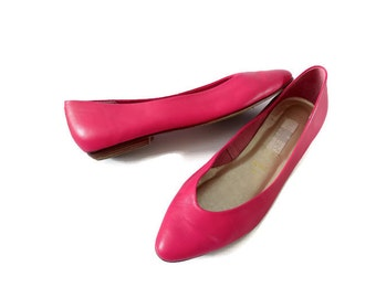 Pink Flats Pink Pointy Flats Vintage 80s Pink Leather Shoes Pointy Toe Flats Size 7 Barbie Shoes Indie Hipster