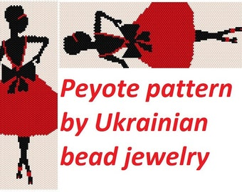 Lady in red dress dyi Beaded Jewelry and beading Pattern peyote stitch bracelet supply women pattern delica diy girls patterns craft diy