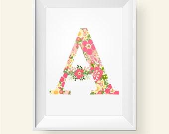 Nursery Floral Letter Print Alphabet