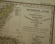 "SCOTLAND old map of Scotland - large original 1859 hand-colored map - vintage poster Orkney islands Edinburgh Ecosse Aberdeen - 14x18"" big"