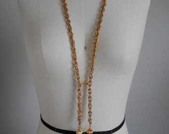 60s vintage necklace - gold chain necklace - 60s Laureate Tassel necklace