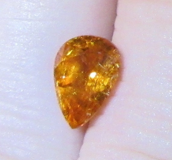 Orange Garnet 1.55 Carats Natural Spessartite Gemstone 6.25x8.5mm Pear with Video