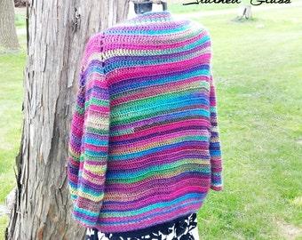 Women's Hippie Cardigan - Colorful Cardigan - Hippie Crochet Sweater - Rainbow Striped Cardigan - Open Front Cardigan - Striped Sweater