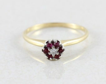 14k Yellow Gold Ruby and Diamond Flower Ring Size 11
