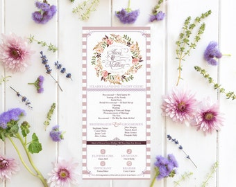 French Country Wedding Programs for a Garden Wedding - Floral & Vintage Ceremony Programs - Amelie