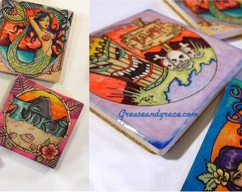 Rockabilly Tiki Coaster, Set of Four, Tattoo Art, Pin Up