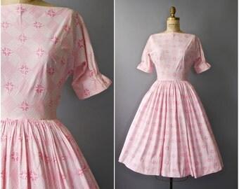 1950's Lanz Dress • Pink Floral Dress • 50's Lanz Originals Dress