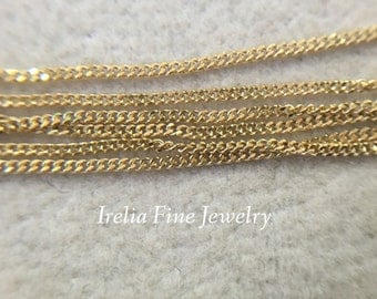 """14K Yellow Gold  .9mm Curb Chain Necklace 18""""-24""""  Long with Spring Clasp"""