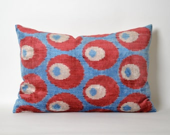 Red and Blue Pillow Covers - Velvet Pillow Cover Ikat Pillow 16 x 24 Inch Pillow - Red Throw Pillow - Accent Pillow - Couch Pillow Cover