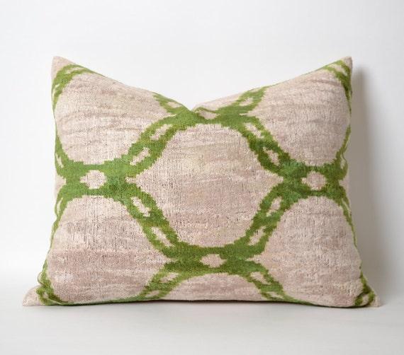 Green Ikat Throw Pillow : Green Velvet Ikat Pillow Cover Green Decorative Throw by pillowme