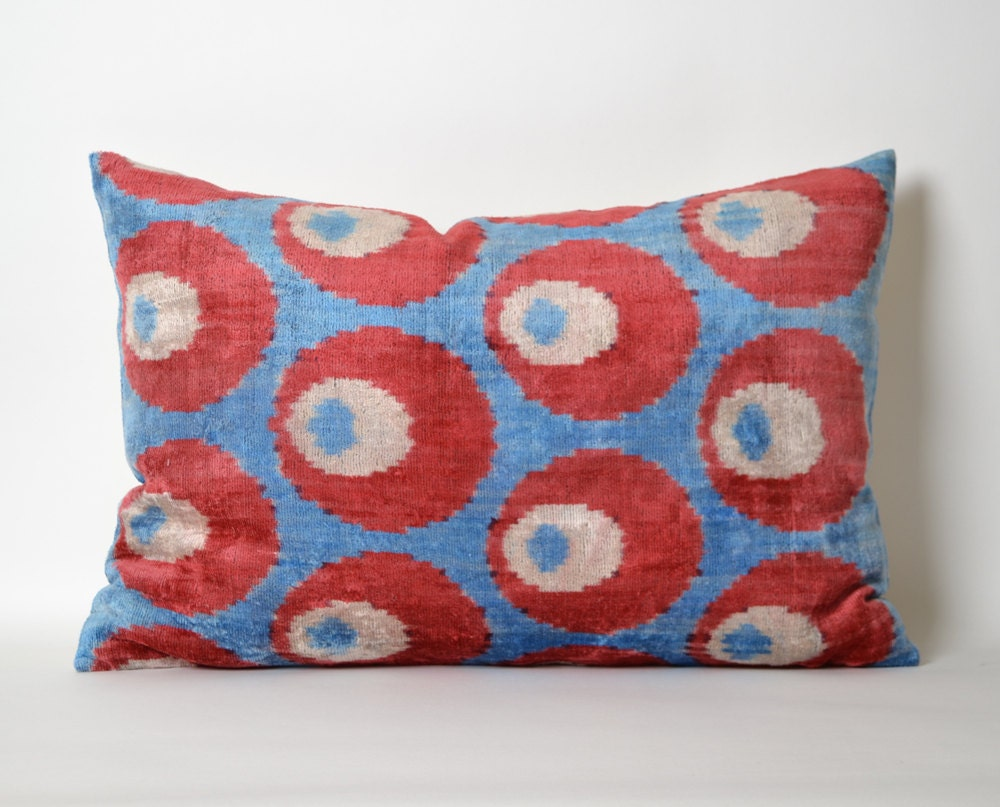 red and blue pillow covers velvet pillow cover ikat by