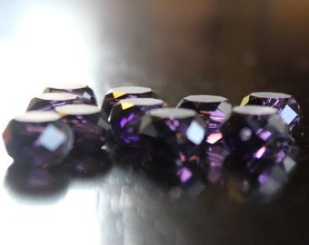 10 frosted glass flat round faceted beads, deep purple color, 12 mm x 7 mm, hole 2 mm