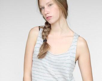 Baumwoll Tank Top, T-Shirt, leicht und kühl, Muster, Streifen, grau mit grünen Streifen