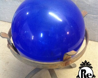 Vintage Lighting Rod Ball Cobalt Blue Glass Ball with Wrought Iron Stand No. 1