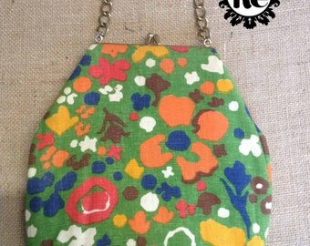 Vintage Purse 1960s Boho Purse with Green Cotton Fabric with Blue Yellow Orange Red Brown & White Flower Pattern No. 17