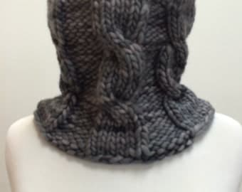 Bulky Cabled Wool Cowl--Grey