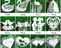 0.2 each - 200pcs Laser Cut  Place Card / Escort Card / Wine Glass Card / Party Decoration / Packaging - 29Colors Available