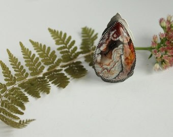 elysian I - red crazy lace agate ring with forest trees detail cutout on back ring size 8.25 sterling silver oxidized Nearly Lost Jewelry