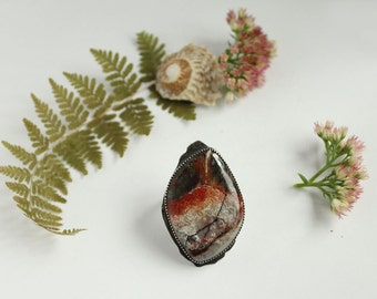 elysian II - red crazy lace agate ring with forest trees detail cutout on back ring size 7.75 sterling silver oxidized Nearly Lost Jewelry