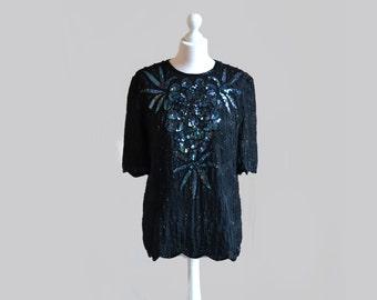 Vintage sequin top Beaded blouse Sequin shirt Black sequin shirt