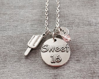SALE, 16th Birthday Gift, 16th Birthday Necklace, sixteen,Silver Necklace, Sweet 16 necklace, Sweet 16 Gift, sweet 16 charm, Personalized