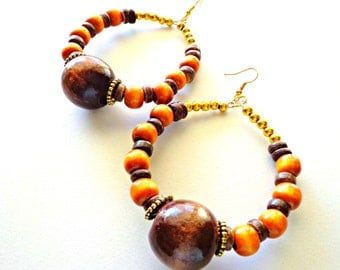 Wooden Beaded Hoop Earrings, Ethnic Jewelry, Beaded Earrings, Bohemian Earrings, Urban Chic Earrings