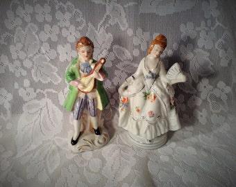 Miniature Victorian Man & Woman Figurines - Man Playing Violin, Woman Holding Fan