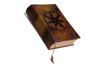 Seventh Star Grimoire, 400 parchment pages, Blank Book of Shadows, Handmade Hardback Faery Star