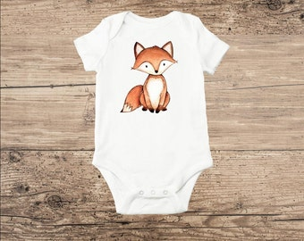 Fox Baby Clothes, Watercolor Fox Boho Bodysuit or T Shirt
