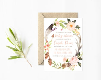 Baby Shower Invitation, Watercolor Wreath with Flowers, Feathers and Arrows