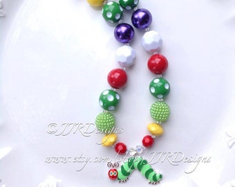 Ready to ship! Caterpillar Chunky Necklace- Caterpillar Necklace- Caterpillar Pendant- Caterpillar Party