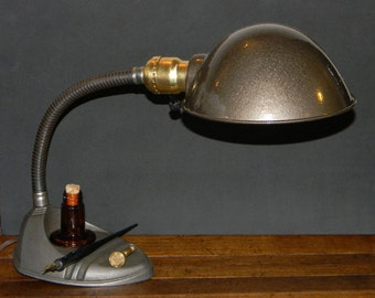 Beautifully Restored Vintage Art Deco Desk Lamp - Retro Industrial Style Gooseneck Desk Lamp