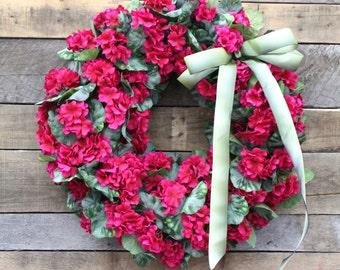 Spring Floral Wreath, Pink Geranium Wreath, Easter Wreath, Luxury Door Wreath, Front Door Wreaths, Large Fuchsia Wreath, Mother's Day Wreath