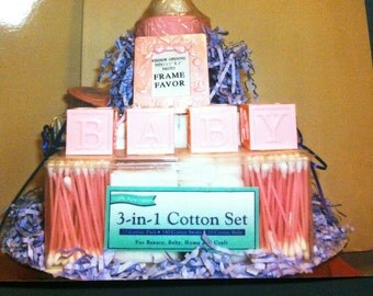 1 tier XL bank diaper cake w/goodies