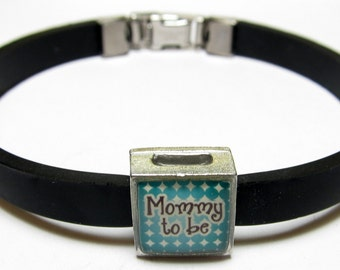 Baby Celebration Mommy To Be Link With Choice Of Colored Band Charm Bracelet