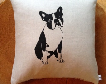 Screen Printed 100% Linen Pillow French Bulldog,Boston Terrier,Dog Lover Pillow Cover